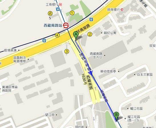 西藏南路站2号口步行至耀江花园大约3-4分钟